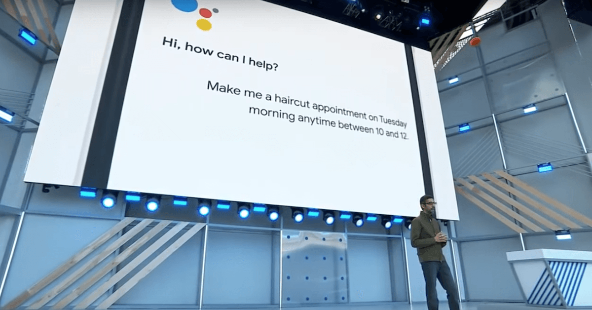 Sundar Pichai, CEO da Google, apresentando Google Duplex